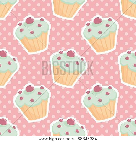 Tile vector pattern with cupcakes and polka dots on pastel pink background