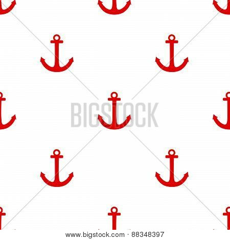 Tile sailor vector pattern with red anchor on white background