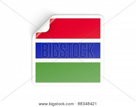 Square Sticker With Flag Of Gambia