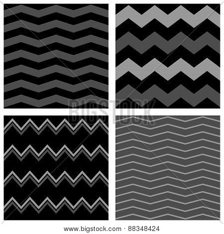 Tile chevron vector pattern set with white, black and grey zig zag background
