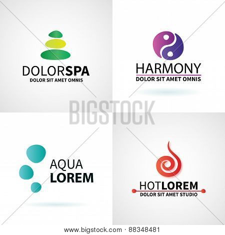 Set of natural spa yoga wellness meditation massage logo elements vector