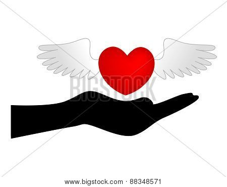 Heart With Wings Over Hand