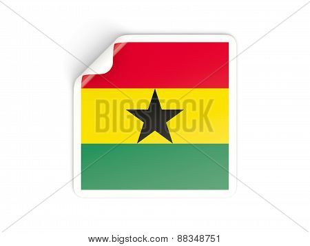 Square Sticker With Flag Of Ghana