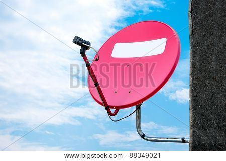 Old Red Dish-aerial Antenna