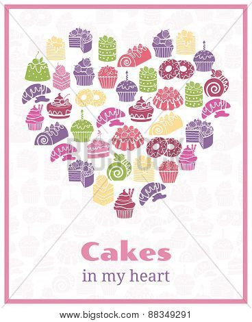 I love cakes. Baking heart shaped sign