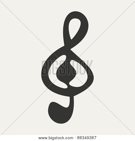 Flat in black and white mobile application treble clef