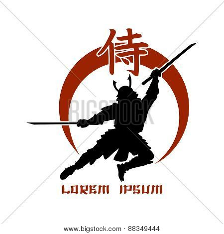 Oriental martial arts. Samurai fight club logo