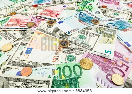 Paper Money Euro And Dolar. Background Of Banknotes