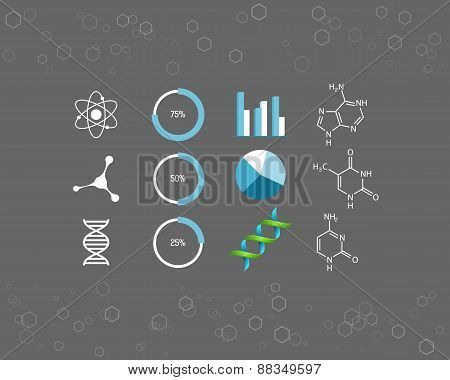 Science icons and chemical element formulas