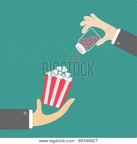 Popcorn. Businessman Hand. Salt Shacker With Hearts. Cinema Icon In Flat Design Style.