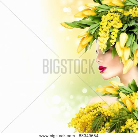Beauty Summer model Girl with Flowers Hair Style. Spring woman. Beautiful lady with Blooming flowers on head. Nature Hairstyle. Summer. Holiday Creative Fashion Makeup. Make up. Vogue Style Portrait