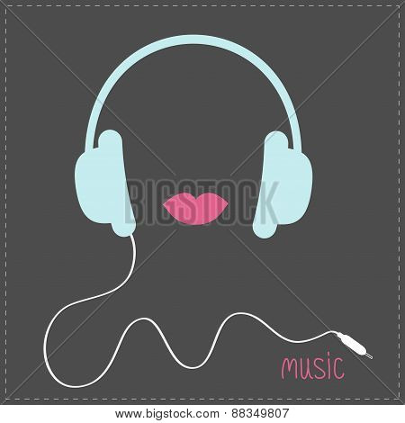 Blue Headphones With Cord. Pink Lips Music Card. Flat Design