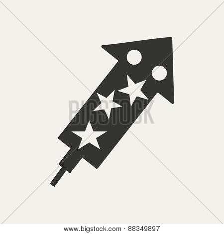 Flat in black and white mobile application rocket