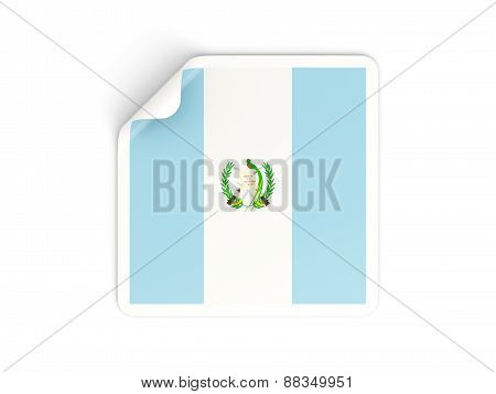 Square Sticker With Flag Of Guatemala