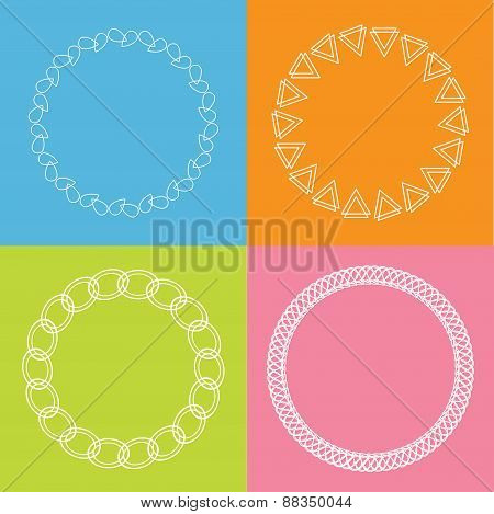Round Abstract Geometric Shapes Frame Set Outline Effect Blue Background Flat Design