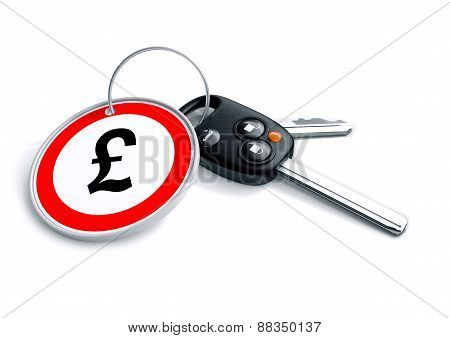 Car keys with British Pound currency symbol as a keyring