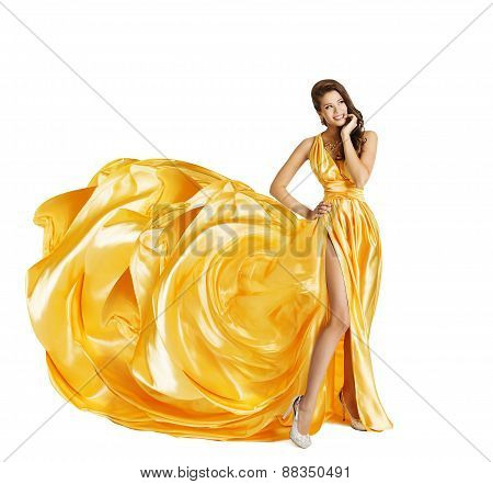 Woman In Yellow Art Silk Dress, Surprised Girl Looking Sideways, Gown Cloth Fabric As Beauty Flower