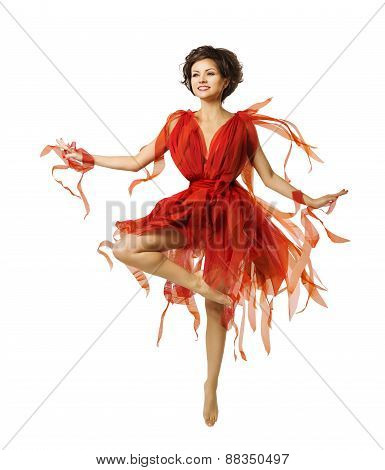 Woman Artist Dancing In Red Dress, Modern Ballet Dance, Tiptoe Dancer Girl Jumping White Isolated