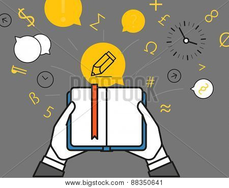 Getting information via book. Simple line design illustration