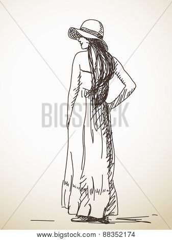 Sketch of woman posing in hat Hand drawn vector illustration