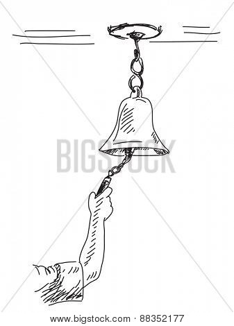 Sketch of bell Hand drawn vector illustration