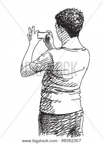Man taking photo with smart phone, Hand drawn illustration, Vector sketch