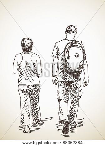 Walking couple back view Vector sketch Hand drawn illustration