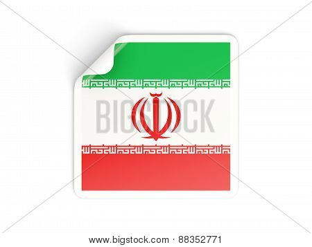 Square Sticker With Flag Of Iran