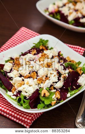 Beet Salad With Arugula, Feta Cheese And Walnut
