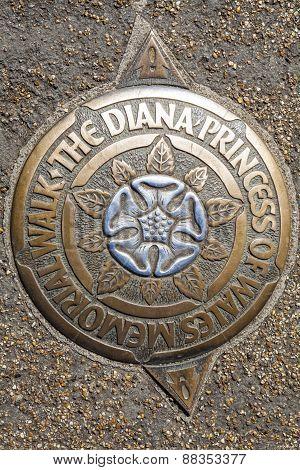 A Plaque For The Diana Princess Of Wales Memorial Walk
