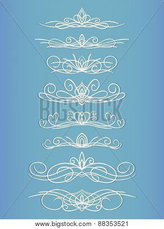 Ornamental lines page decoration Vector design element set