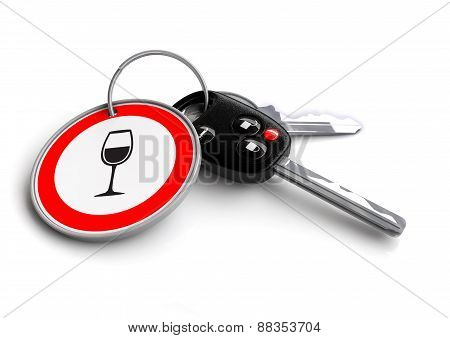 Car Keys with wine glass road sign key ring