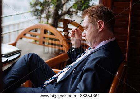 Stressed pensive businessman