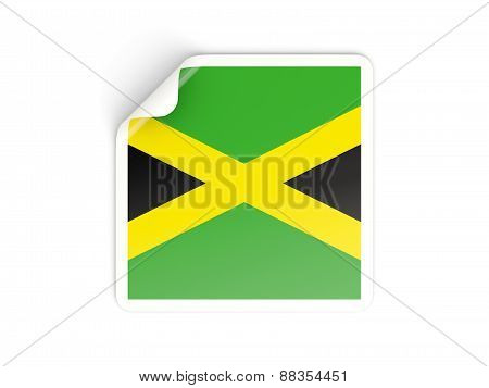 Square Sticker With Flag Of Jamaica