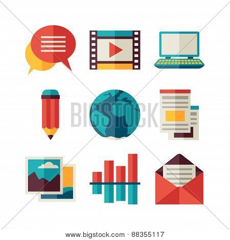 Media and communication set of blog icons