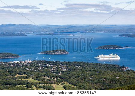 White Cruise Ship In Blue Bay In Maine
