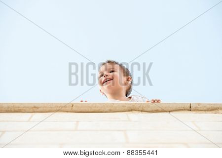 Baby smiling outdoor