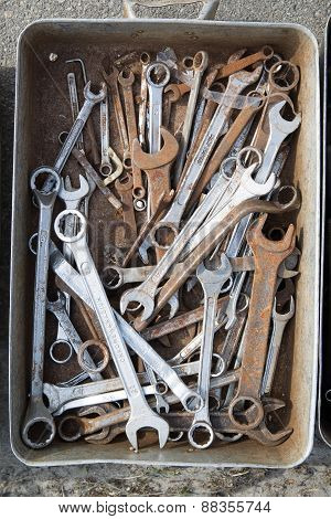 Old Locksmith Keys Are In A Metal Box.