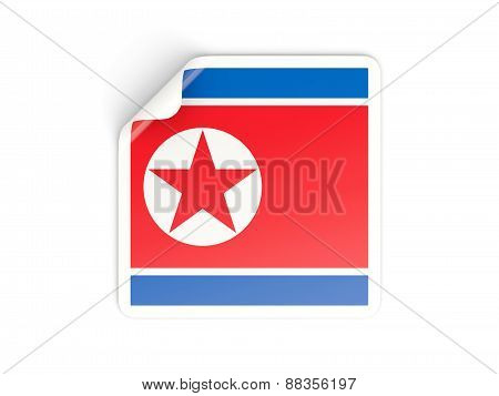 Square Sticker With Flag Of North Korea