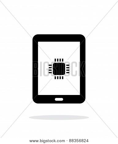 Tablet CPU simple icon on white background.