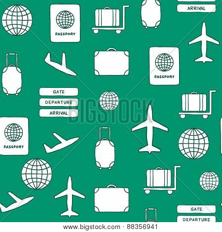 Seamless hand drawn background on airport theme