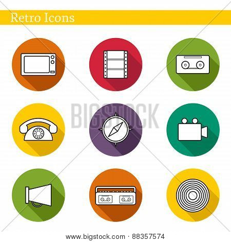 Set of flat icons on retro theme