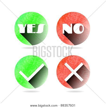 Set, collection, group of four isolated, round, green, red, modern icons, buttons, labels, stickers