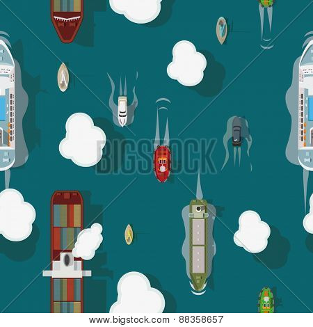 Transport ships top view seamless vector background