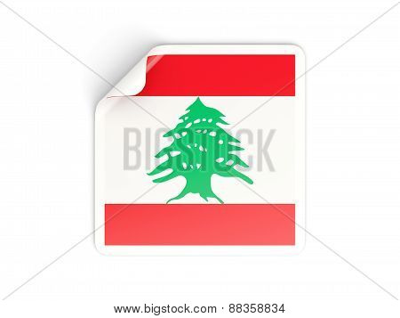 Square Sticker With Flag Of Lebanon