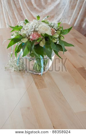 Wedding Bouquet For Bride On Table