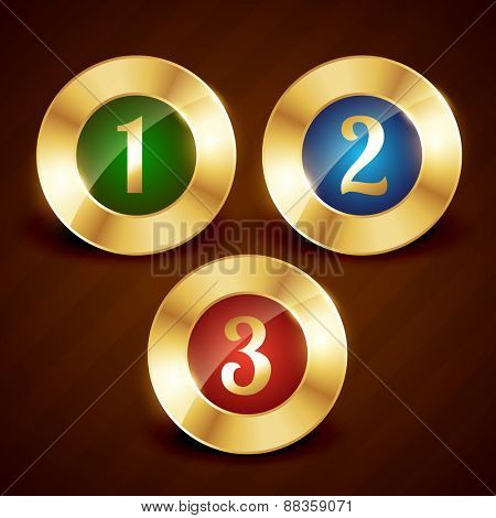 golden ranking number one two three vector design illustration