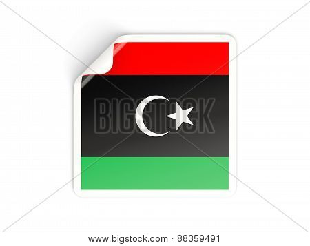 Square Sticker With Flag Of Libya