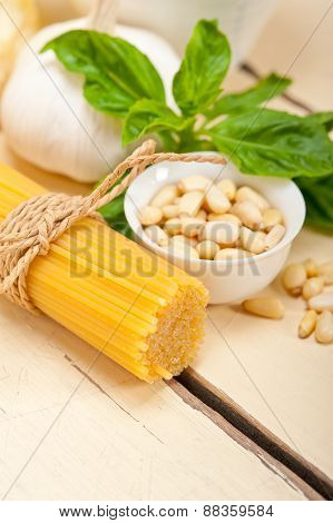 Italian Traditional Basil Pesto Pasta Ingredients