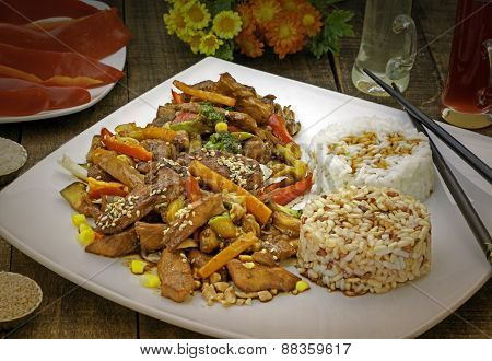 Chinese dish with meat and vegetables